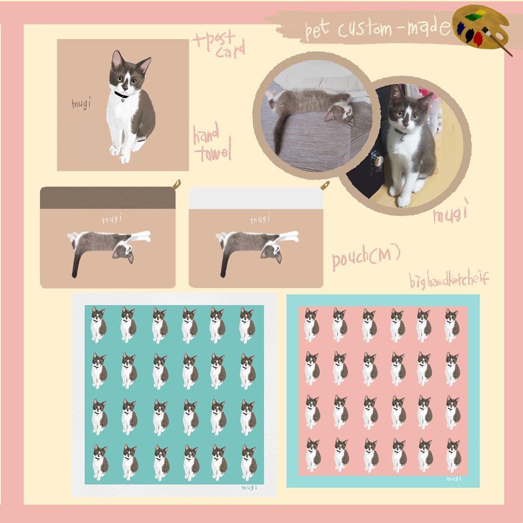 オリジナルオーダーアイテムFamille「猫のmugiちゃんアイテムイメージ」